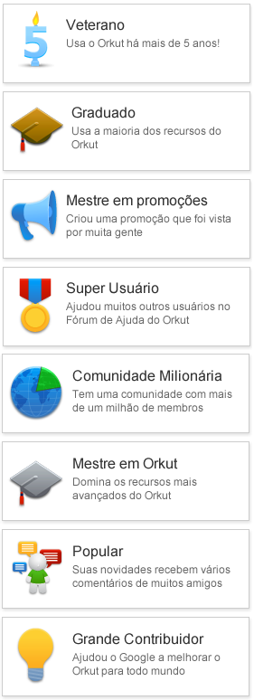"Selos do Orkut do tipo ""Conquista"""