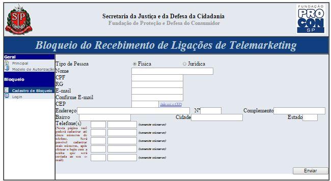 bloqueio de telemarketing - preenchendo o formulário de cadastro